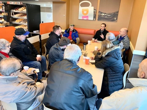 First coffee meeting with constituents